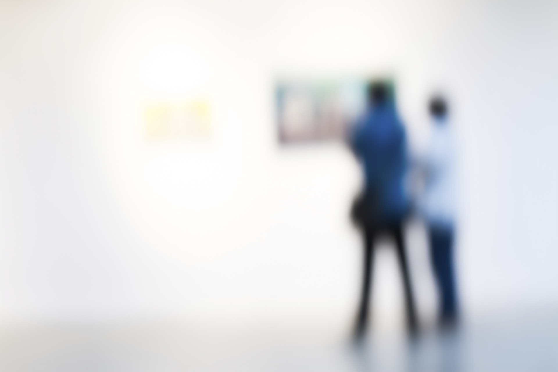 blurred touist watching paintings in a museum